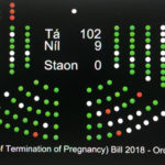Dáil vote of 102 Yeses to 6 Nos
