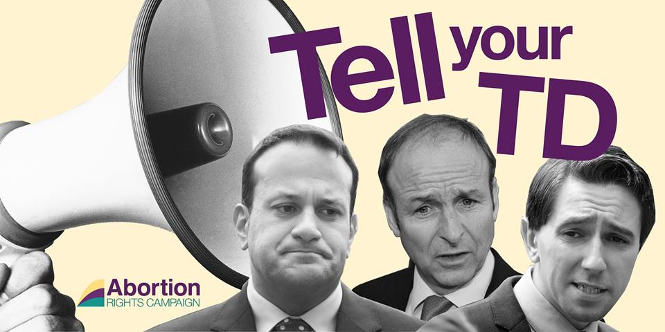 Image of Leo Varadkar, Micheal Martin and Simon Harris in front of a megaphone and the words 'Tell your TD'