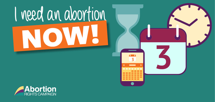 Green image with graphics of clocks, calendar & hourglass, and the text 'I need an abortion now!'