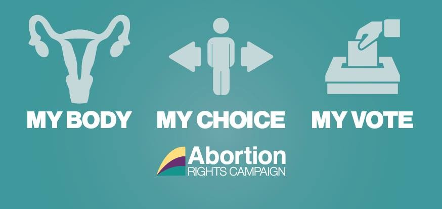 "Green background with three pieces of clipart - a uterus, a person, and a polling booth. Words underneath reading ""my body, my choice, my vote"". The Abortion Rights Campaign logo is centred underneath the three main images."
