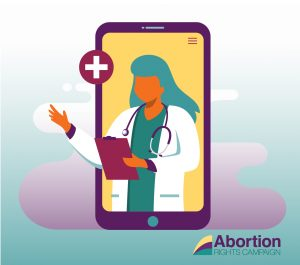 Illustration of a doctor framed by a smartphone with the ARC logo in the bottom right corner