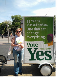 Helen Stonehouse pictured with a Together For Yes banner on Grafton Street, May 25, 2018