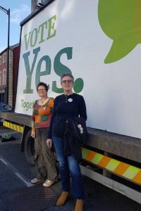 Members of Leitrim ARC pictured in front of a Vote Yes mobile billboard