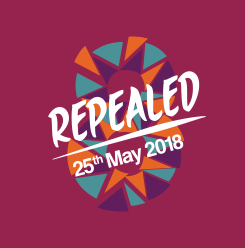 "Figure eight on a maroon background with ""Repealed 25th May 2018"" across it in white text"