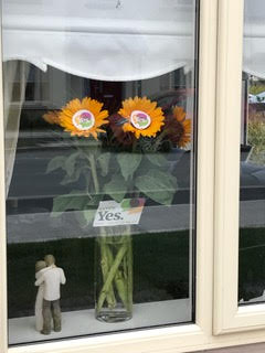 "Bunch of orange ""Together for Yes"" flowers on display in the front window of a house"