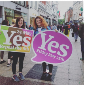 "Therese Lynn along with Sarah Hourigan on Grafton Street holding ""Yes May 25th"" placards"